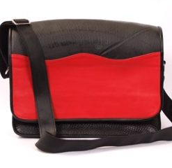 Messenger bag made of recycled tire products, colored decoration. Adjustable rubber strap, nylon handles, fabric lining. Zippered cell pocket, keychain, pen holder.