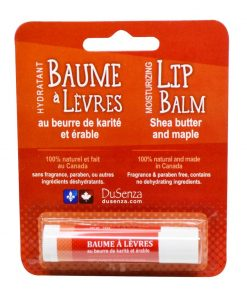 Shea Butter and Maple Lip Balm, made in Canada. 14 oz net wt.
