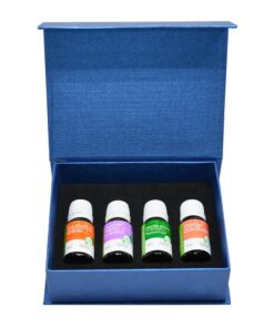 Set of 4 essential oils: eucalyptus, lavender, peppermint, and orange. 10 ml per bottle.