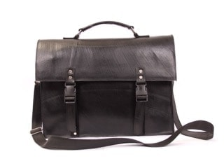 Notebook or computer bag 15.5 in L x 11.5 in H, made of recycled tire products. Zippered interior pouch, pen holders, key ring, padded cotton lining, 54 in adjustable strap. Closes with release bucklet.
