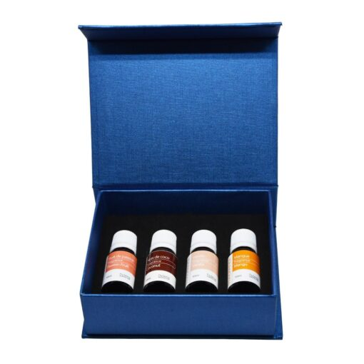 Set of 4 fragrance oils for ultrasonic diffusers. Passion fruit, coconut, vanilla, and mango.10 ml bottles.