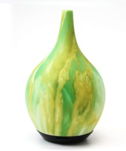Ultrasonic Diffuser, green and yellow marbled design. Capacity of 120 ml. Auto shut off.