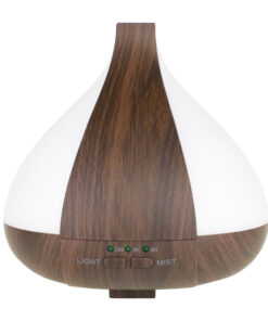 Ultrasonic diffuser, dark wood style. Changing LED light. 220 ml capacity, auto shut off.