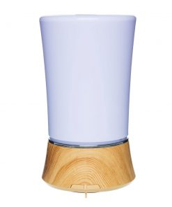 Wood base style ultrasonic diffuser, 6 changing LED lights. 150 ml capacity, auto shut off.