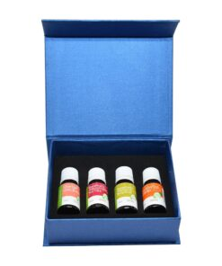 Set of 4 essential oils: orange, tea tree, bergamot, and eucalyptus. 10 ml per bottle.