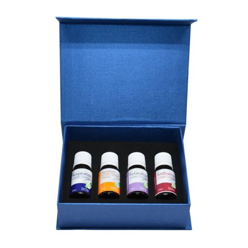 Set of 4 different blends of essential oils: respiration, citrus, relaxation, ambiance. 10 ml per bottle.