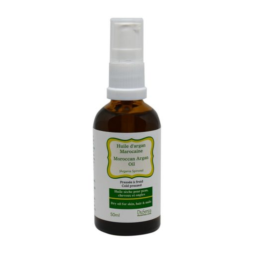 Moroccan cold pressed dry oil. 50 ml bottle with dispenser pump.