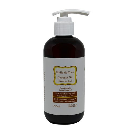 Fractionated coconut oil. 250 ml bottle with hand-dispenser pump.