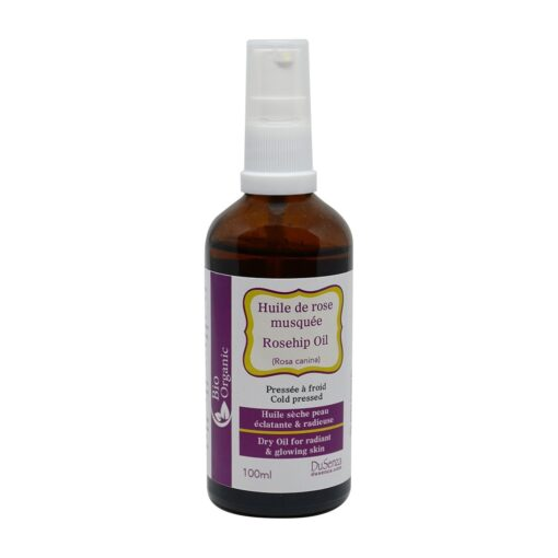 Organic cold pressed rosehip dry oil. 100 ml bottle with dispenser pump.