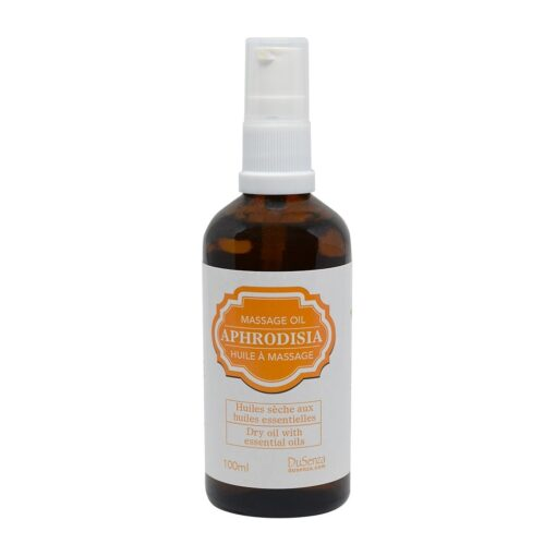 Aphrodisia dry massage oil with essential oils. 100 ml bottle with dispenser pump.