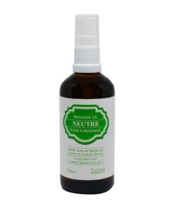 Neutral massage oil with grapeseed and sweet almond dry oil. 100 ml bottle with dispenser pump.