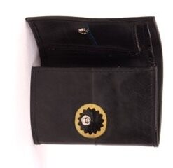 Carlita Wallet made of recycled tire products. Space for cards, coins and bills. Snap fastener.